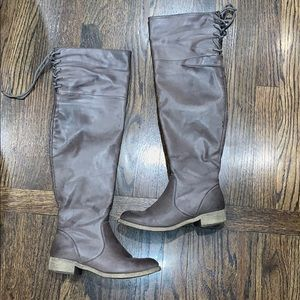 Shoes - Over the knee gray boots